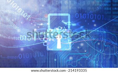 Lock symbol on screen - stock photo
