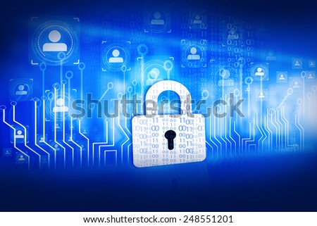 lock with circuit board, internet security concept 	 - stock photo