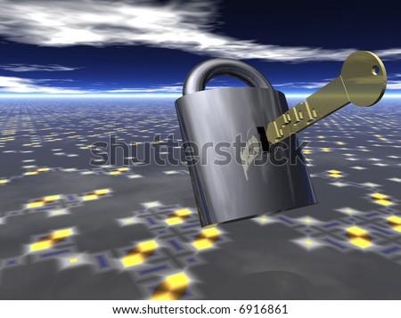 Lock with data key - stock photo