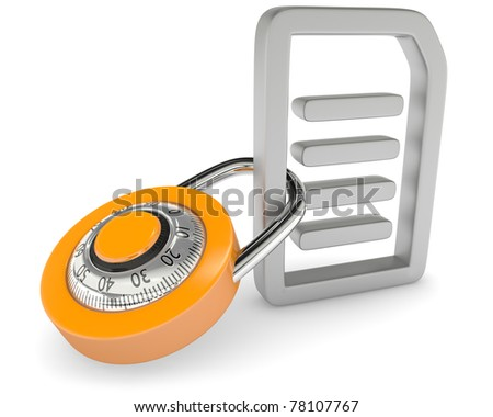 Lock with file icon - stock photo