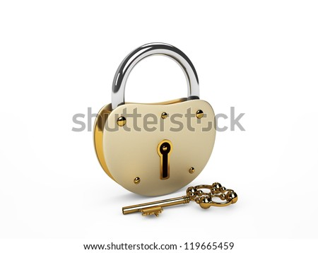 Lock with key isolated on white - stock photo