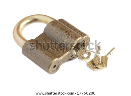 lock with key isolated on white