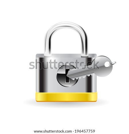 Lock with key. Raster copy. - stock photo