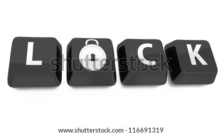 LOCK written in white on black computer keys with a lock icon. 3d illustration. Isolated background. - stock photo