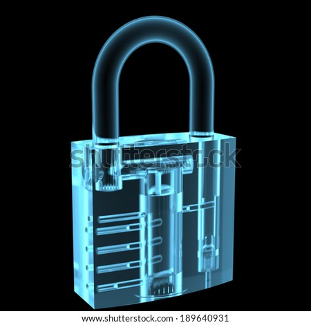 Lock x-ray blue transparent isolated on black - stock photo