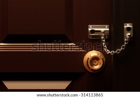 Lock your door 3d rendering. - stock photo