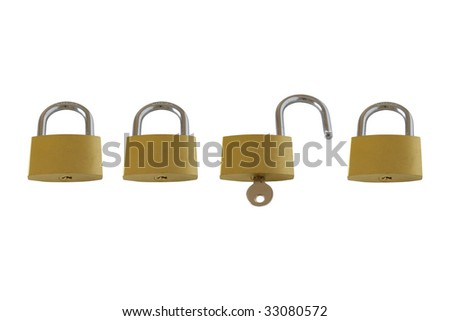 Locked and unlocked padlocks