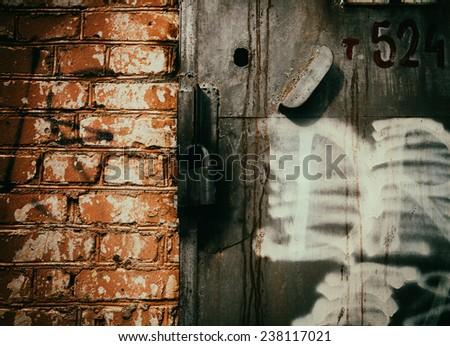 Locked cyberpunk door - stock photo
