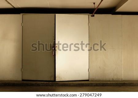 Locked door - stock photo