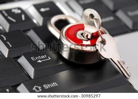locked enter key of keyboard - stock photo