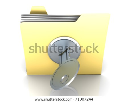 Locked Folder. 3D rendered Illustration. Isolated on white. - stock photo