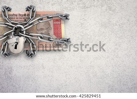 Locked Indian bill on Textured background. 3d rendering - stock photo