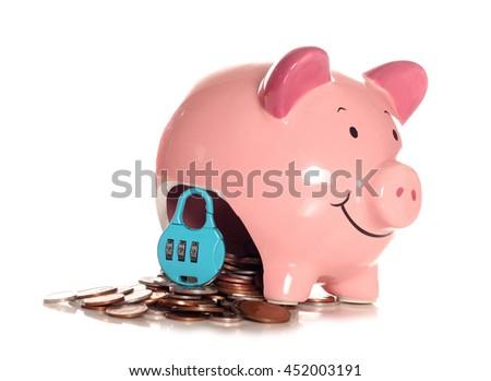 Locked into your mortgage piggybank cutout - stock photo