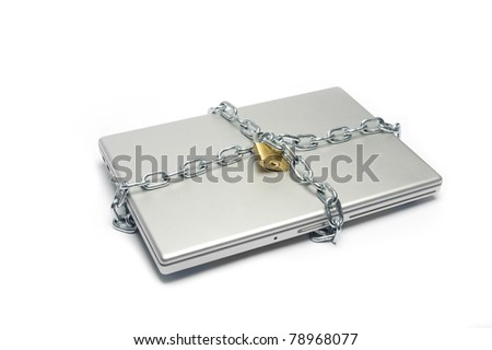locked laptop with chains , meaning safety and security n data protection