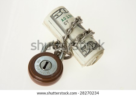 locked money with padlock - stock photo