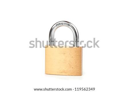 Locked padlock against white background - stock photo