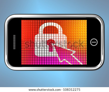 Locked Padlock Mobile Screen Showing Access Protected - stock photo