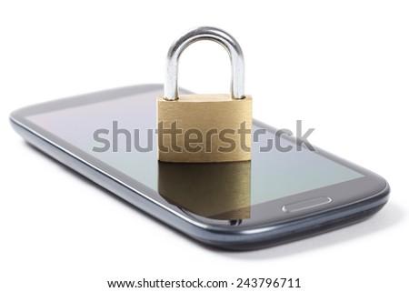 Locked padlock put on a phone isolated on white background. - stock photo