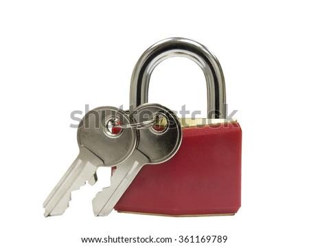 Locked red padlock and keys isolated on white background  - stock photo
