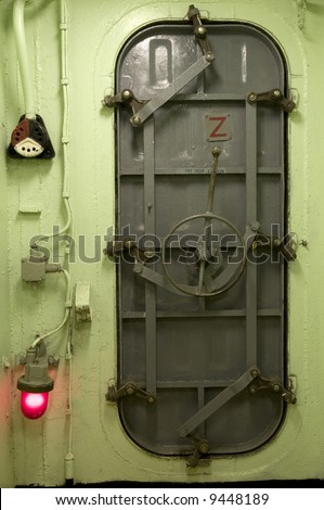Locked ship hatch metal door at end of hallway navy & Locked Ship Hatch Metal Door End Stock Photo (Safe to Use) 9448189 ...