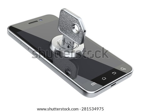 Locked smartphone with key. Security concept. Isolated on a white background 3d image. - stock photo