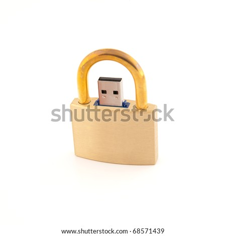 Locked USB flash memory padlock - stock photo