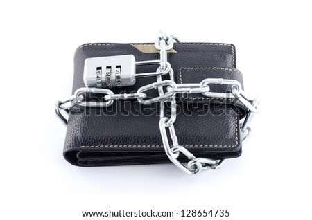locked wallet completely isolated on white - stock photo