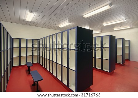 Locker room at camp - stock photo