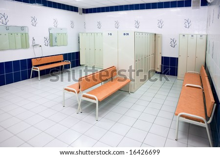 Locker room for swimmers in sports club
