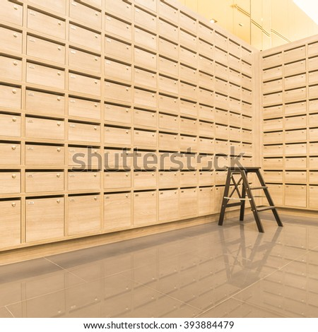 Locker wooden Mail Boxes postal for keep your information, bills,postcard,mails etc - stock photo