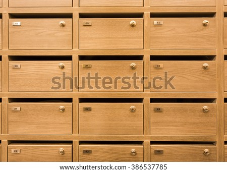 Locker wooden mailboxes postal for keep your confidential information, bills,postcard,mails etc - stock photo