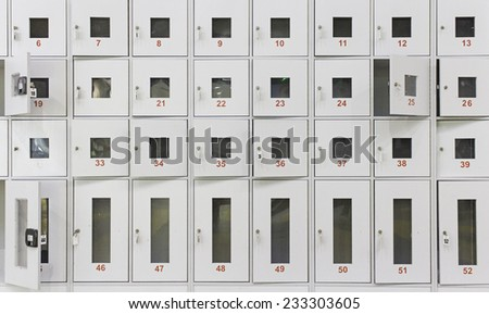Lockers in closed supermarket, construction and safety - stock photo