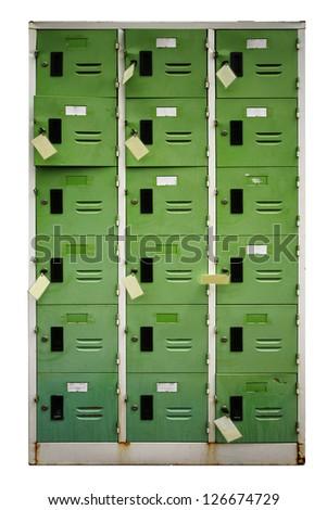 lockers on white background - stock photo