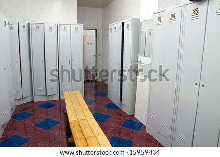 lockers typically found at a gymnasium, high school, or health club. - stock photo