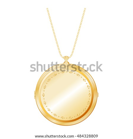 Gold pendant stock images royalty free images vectors locket jewelry vintage engraved round gold keepsake chain necklace copy space to customize aloadofball Gallery