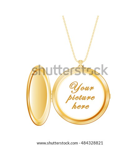 Locket Jewelry, vintage engraved round gold keepsake, chain necklace, copy space to customize with your picture or inscription, isolated on white background.