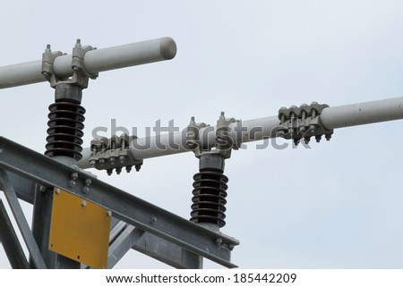 Locking devices, high voltage, high voltage stations - stock photo