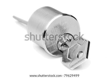 locking mechanism isolated on white, studio shot - stock photo