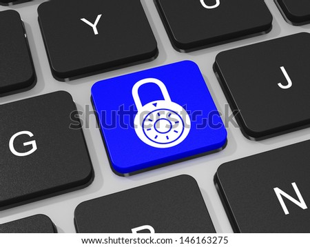 Lockpad key on keyboard of laptop computer. Security concept. 3D illustration. - stock photo
