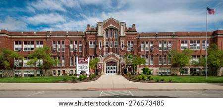 LOCKPORT, ILLINOIS - MAY 9: Lockport Township High School Central Campus on May 9, 2015 in Lockport, Illinois - stock photo