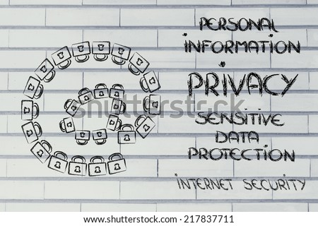 locks creating email symbol: security of data, privacy and personal information - stock photo