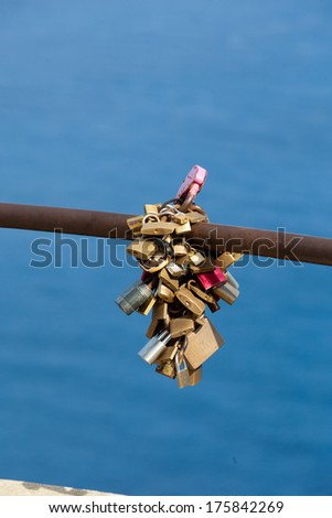 Locks of love on Majorca Island, Spain. - stock photo