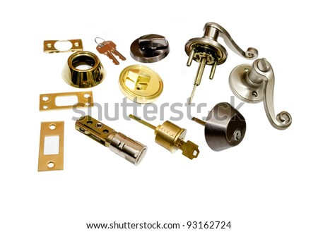 locksmith door locks and key, do it yourself home hardware on white background - stock photo