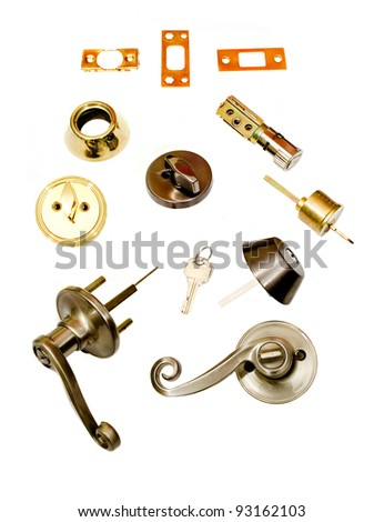 locksmith installation deadbolt parts for door latch and handle. white background - stock photo