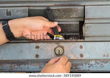 locksmith with old steel skill - stock photo