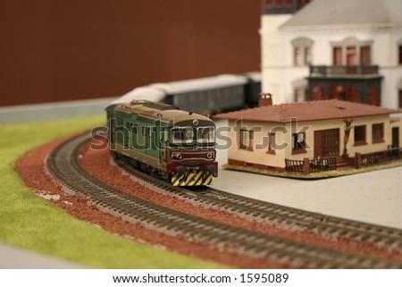 Locomotive on rails - stock photo