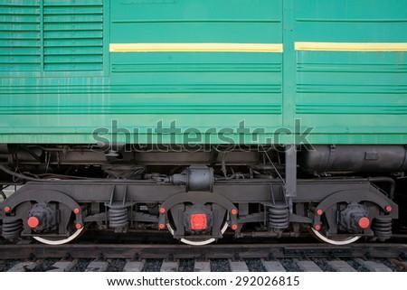 Locomotive wheels - stock photo