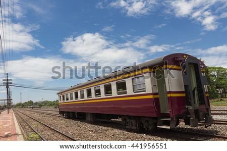 Locomotives at railway station - stock photo