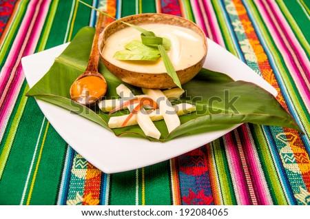 locro, traditional ecuatorian dish potato soup - stock photo