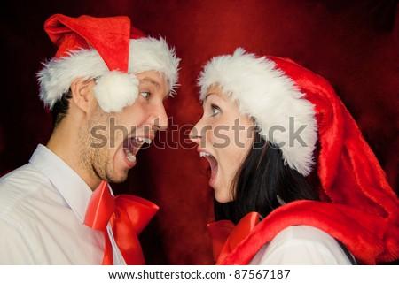 lod surprised screaming christmas couple - stock photo